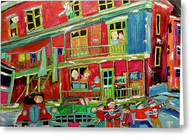 Balconies And Sheds Hockey Game Greeting Card