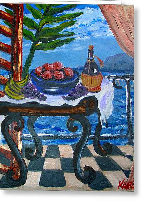 Balcony By The Mediterranean Sea Greeting Card by Karon Melillo DeVega