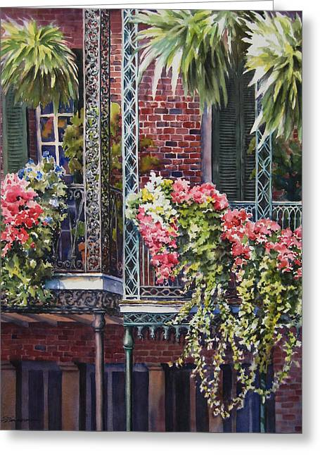 Balcony Gardens Greeting Card by Sue Zimmermann