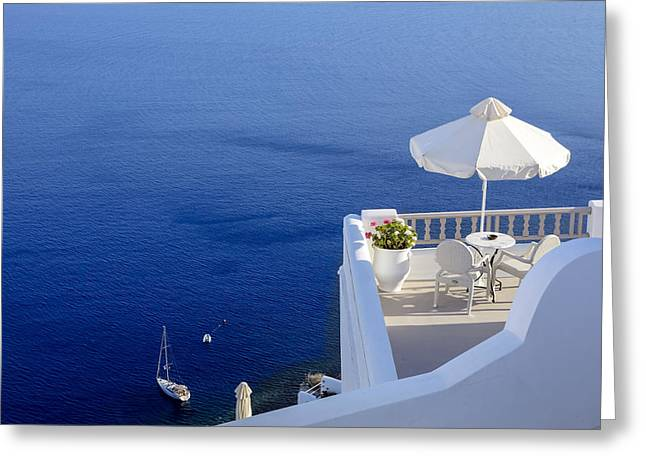 Santorini Greeting Cards - Balcony Over The Sea Greeting Card by Joana Kruse