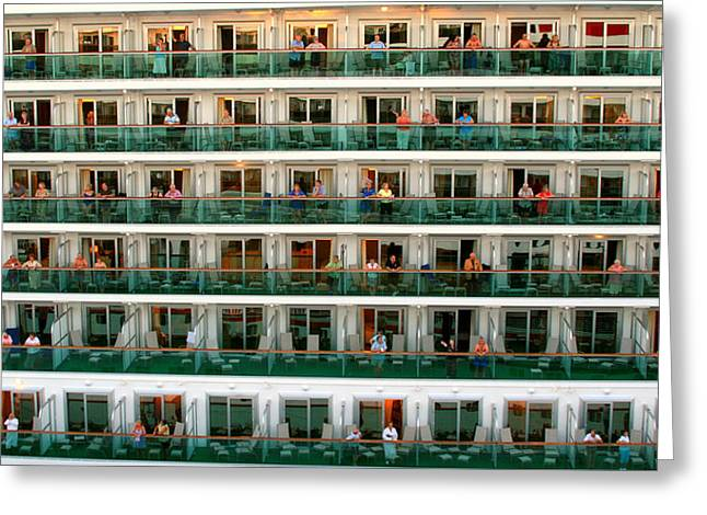 Boat Cruise Photographs Greeting Cards - Balcony People Greeting Card by Perry Webster