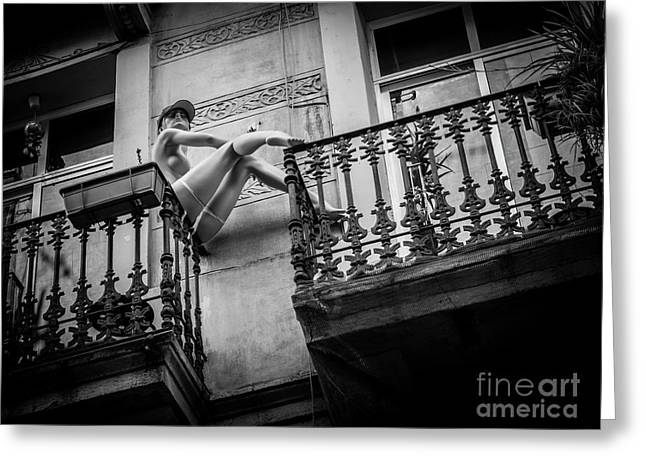 Greeting Card featuring the photograph Balcony Scene by Hans Janssen