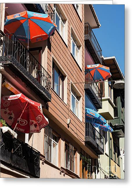 Balcony Umbrellas Greeting Card by Bob Phillips