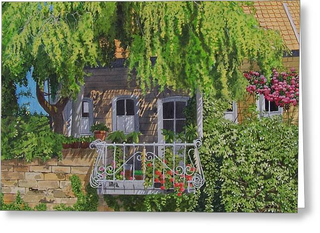 Balcony With Flowers Greeting Card by Constance Drescher