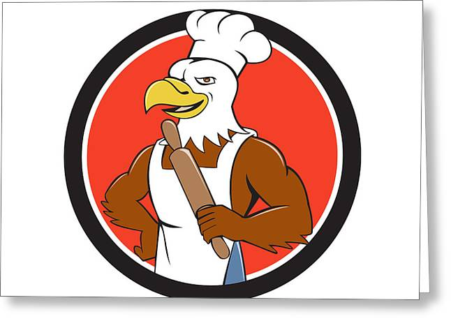 Bald Eagle Baker Chef Rolling Pin Circle Cartoon Greeting Card