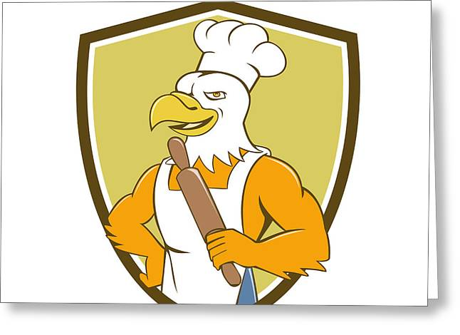 Bald Eagle Baker Chef Rolling Pin Crest Cartoon Greeting Card