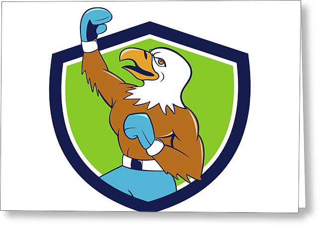 Bald Eagle Boxer Pumping Fist Crest Cartoon Greeting Card by Aloysius Patrimonio