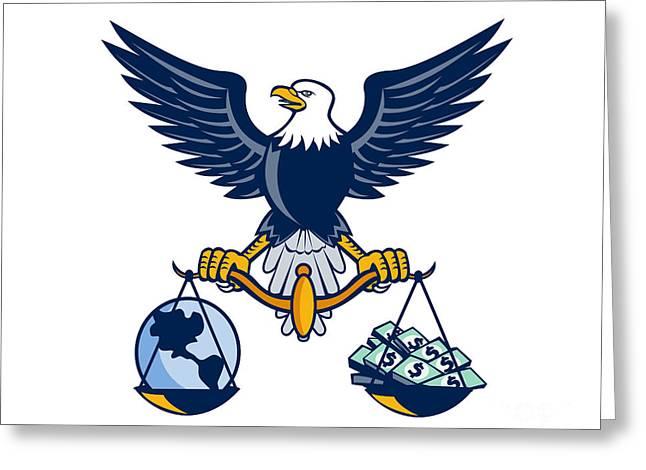 Bald Eagle Hold Scales Earth Money Retro Greeting Card by Aloysius Patrimonio