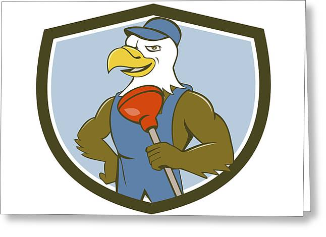 Bald Eagle Plumber Plunger Crest Cartoon Greeting Card