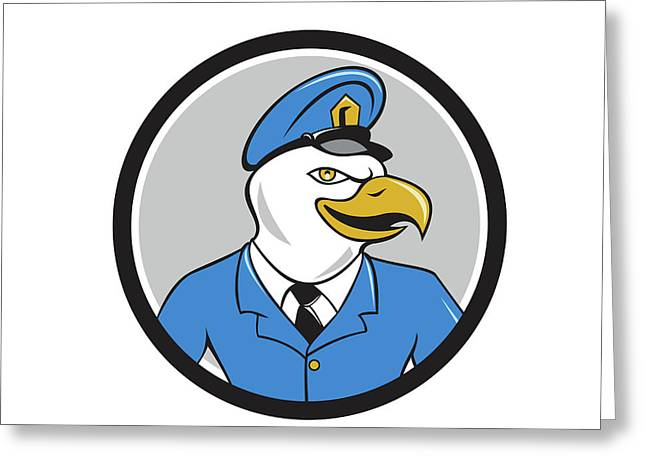 Bald Eagle Policeman Circle Cartoon Greeting Card
