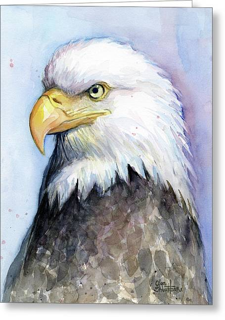 Bald Eagle Portrait Greeting Card by Olga Shvartsur