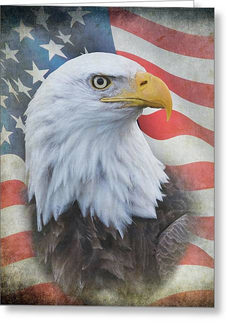 Greeting Card featuring the photograph Bald Eagle With American Flag by Angie Vogel