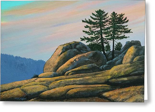Greeting Card featuring the painting Bald Rock At Sunset by Frank Wilson