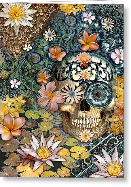 Bali Botaniskull - Floral Sugar Skull Art Greeting Card by Christopher Beikmann