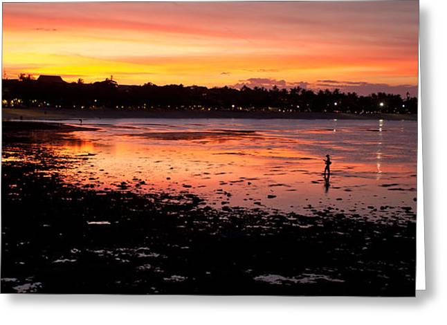 Bali Fisherman Sunset Greeting Card by Mike Reid