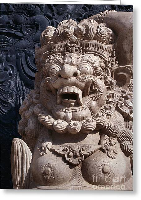 Bali Hindu Temple Sculpture Photograph - Bali Guardian I Greeting Card