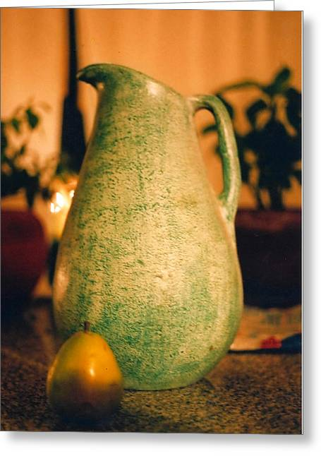 Bali Pitcher And Pear Greeting Card