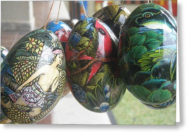 Best Sellers -  - Wooden Sculpture Greeting Cards - Bali Wooden Eggs Artwork Greeting Card by Mark Sellers