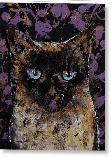 Balinese Cat Greeting Card by Michael Creese