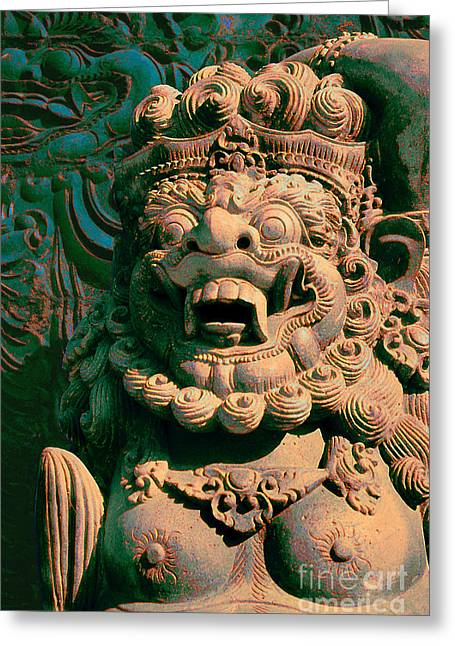 Balinese Hindu Temple Guardian Art Photography - Bali Guardian II Greeting Card