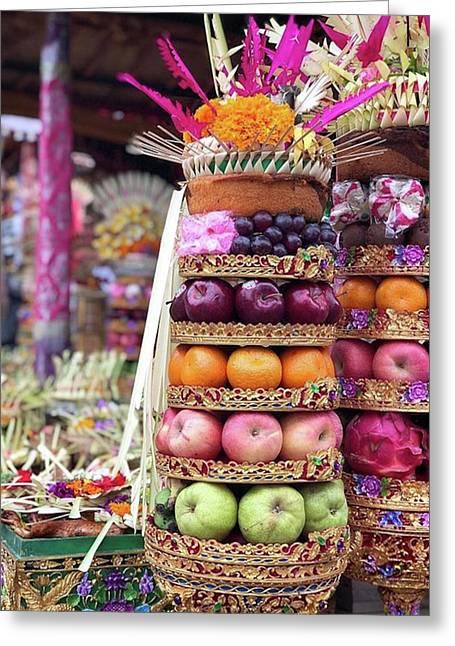 Balinese Life - Penyineban Piodalan Greeting Card by Arya Swadharma