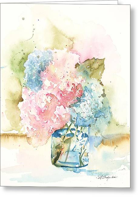 Greeting Card featuring the painting Ball Jar Hydrangeas by Sandra Strohschein