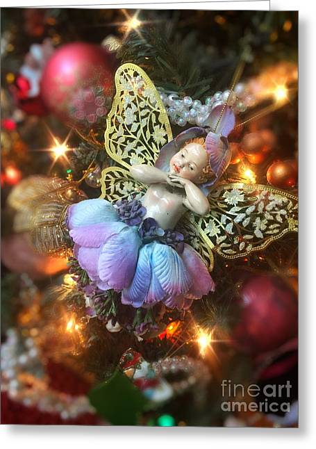 Ballerina Angel Christmas Ornament Greeting Card by Amy Cicconi