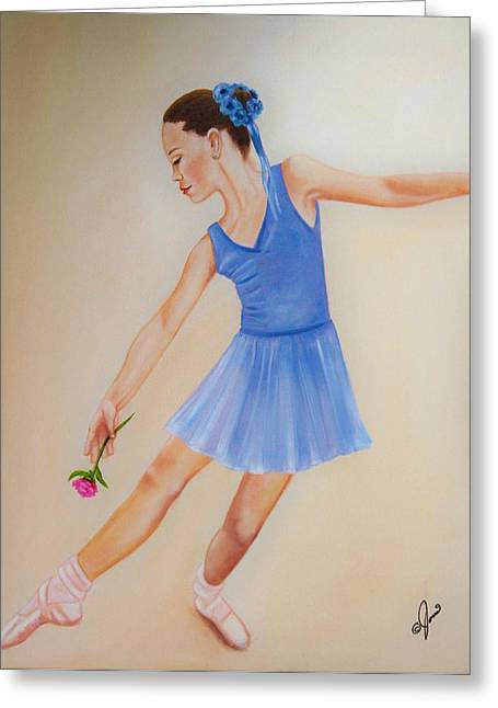 Greeting Card featuring the painting Ballerina Blue by Joni McPherson