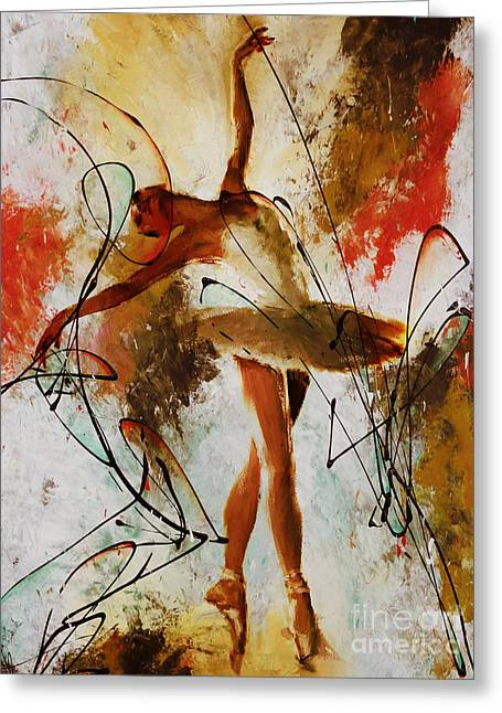 Ballerina Dance Original Painting 01 Greeting Card by Gull G