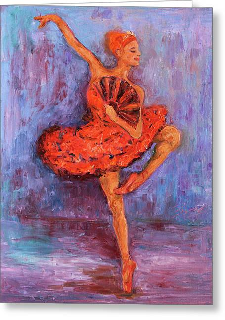 Ballerina Dancing With A Fan Greeting Card