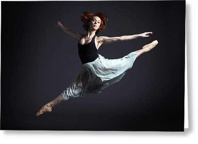 Ballerina In Flying Pose Greeting Card