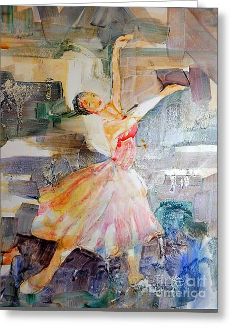 Greeting Card featuring the painting Ballerina In Motion by Mary Haley-Rocks
