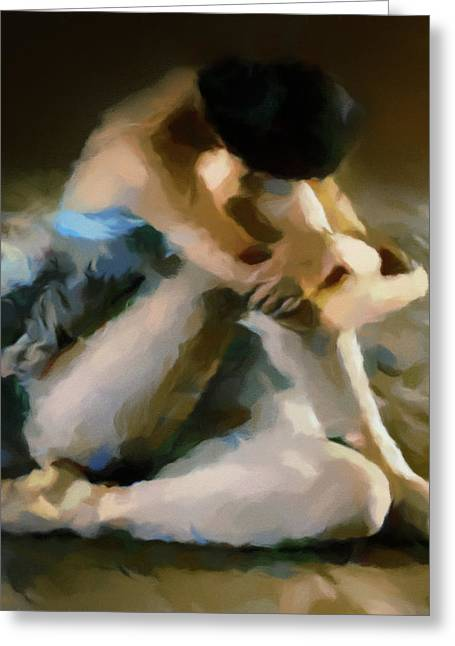 Ballerina In Repose Abstract Realism Greeting Card