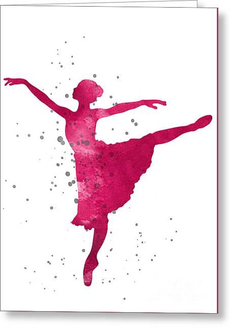 Ballerina Nursery Art Print Greeting Card by Joanna Szmerdt