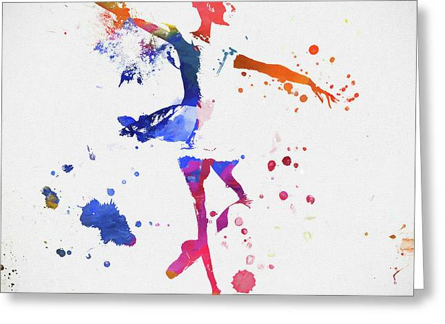 Ballerina Paint Splatter Greeting Card