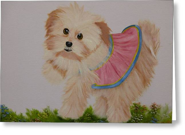 Portraits Greeting Cards - Ballerina Puppy Greeting Card by Joni McPherson