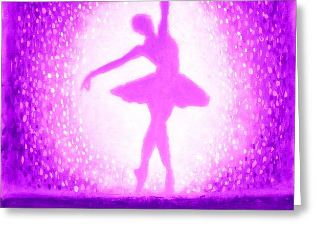 Greeting Card featuring the painting Ballerina Purple And Pink by Bob Baker