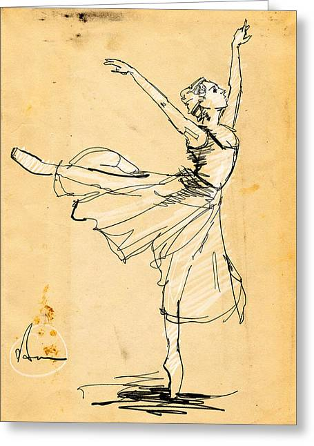 Ballerina Study Greeting Card by H James Hoff