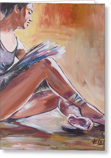 Tying Shoe Greeting Cards - Ballerina tying shoes Greeting Card by Vered Thalmeier