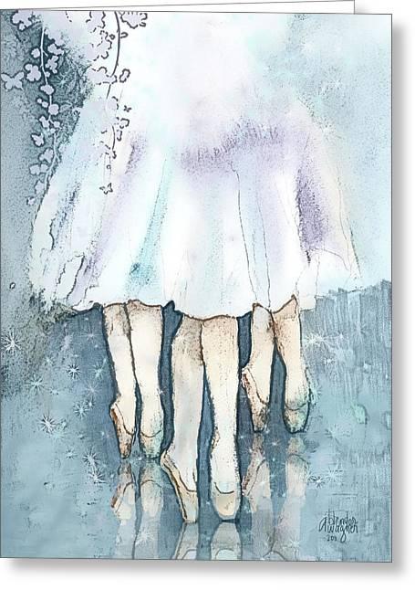 Ballerina Mixed Media Greeting Cards - Ballerinas Greeting Card by Arline Wagner
