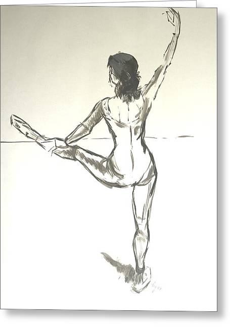 Ballet Dancer With Left Leg On Bar Greeting Card