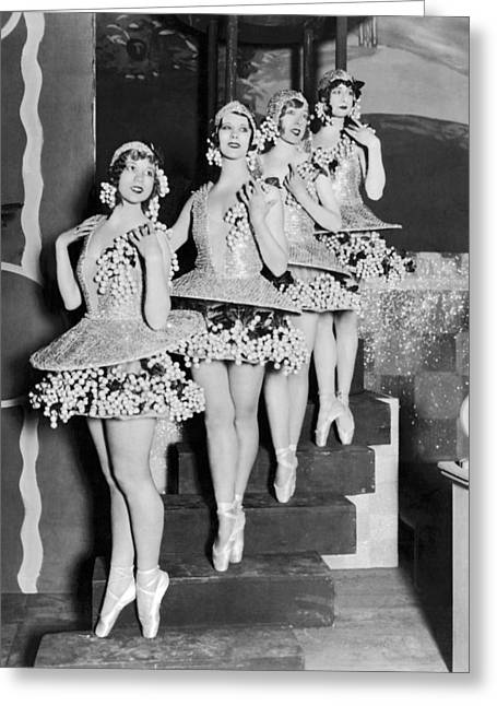 Ballet Dancers On Steps Greeting Card by Underwood Archives
