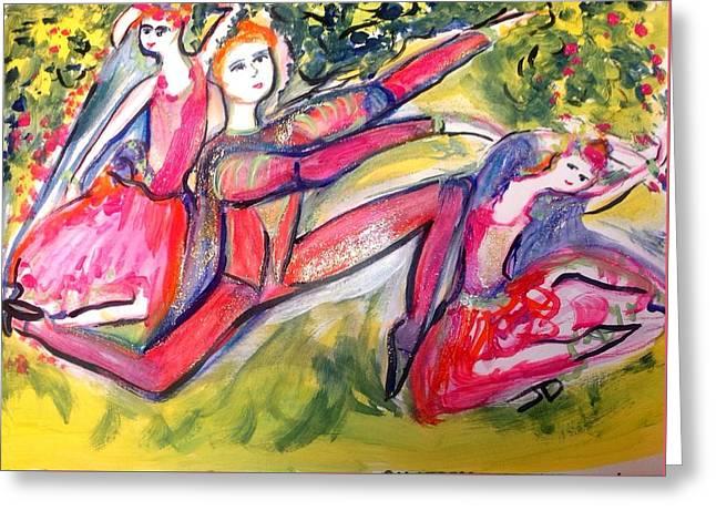 Ballet In The Flower Garden  Greeting Card