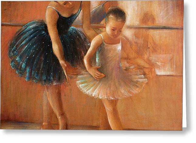 ballet lesson-painting on leather by Vali Irina Ciobanu  Greeting Card