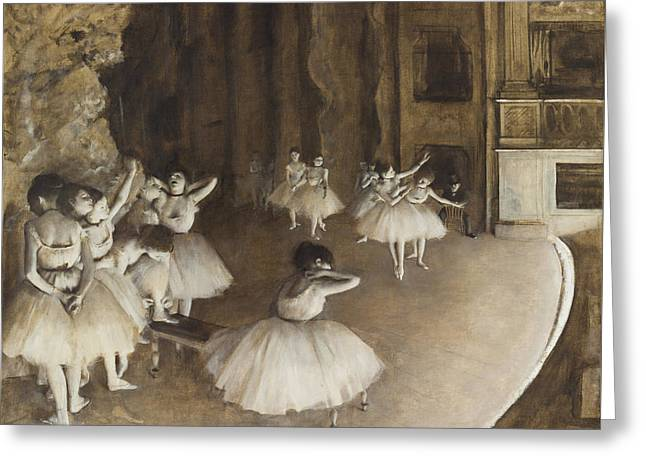Ballet Rehearsal On Stage 1874 Greeting Card by Edgar Degas