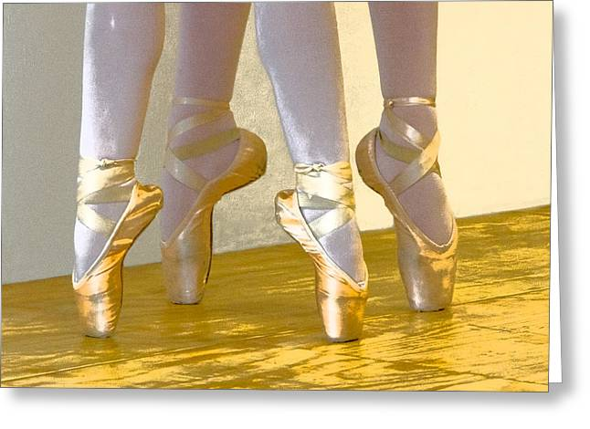 Ballet Second Position In Gold Greeting Card