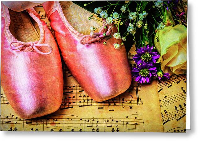 Ballet Shoes And Old Sheet Music Greeting Card by Garry Gay