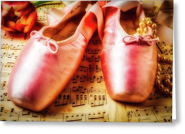 Ballet Shoes And Perals Greeting Card