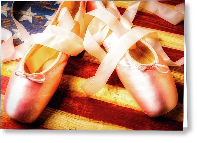 Ballet Shoes On Flag Greeting Card