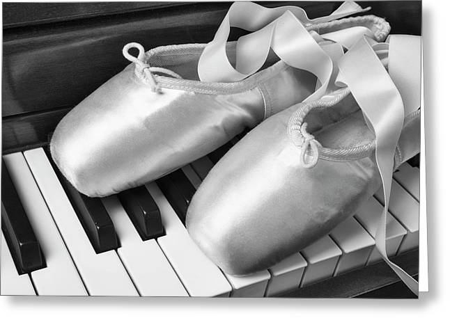 Ballet Slipers In Black And White Greeting Card